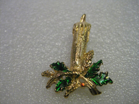 Vintage and Current, Christmas Candle with Flame Brooch , Green Holly