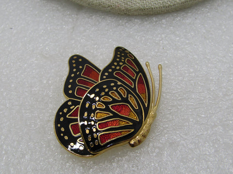 "Vintage Cloisonne Butterfly Brooch, Folded Wings, Signed, 1980's, 1.75"", Gold Tone"