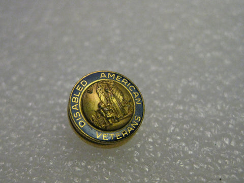 Disabled American Veterans Goldtone Blue Enameled Lapel Pin - Round