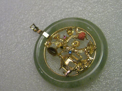 Vintage Jade Pendant with Goldtone Pagoda Scene, Rhinestones, Tiger's Eye, and Coral Accents