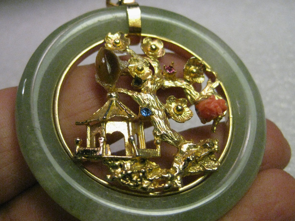 Vintage jade pendant with goldtone pagoda scene rhinestones vintage jade pendant with goldtone pagoda scene rhinestones tigers eye and coral accents aloadofball Gallery