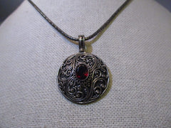"Sterling Silver Scrolled Gothic/Victorian Garnet Pendant on 17.5"" on 2.5mm Round Chain Necklace, 3"" Ext. Chain"