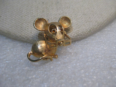 Vintage Avon Mouse Brooch, with Glasses, Rhinestone Eyes, 1970's. Gold Tone, 1""