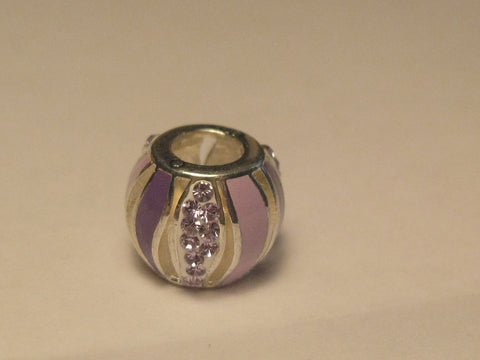 Sterling Silver Persona Alzheimer Bead, Slide, Lavender Rhinestone Wave
