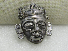 Vintage Sterling Aztec Tribal Brooch, Mexico, Nose Ring, Signed RBZ, Hecho in Mexico DF, 11.89gr. 1.75""