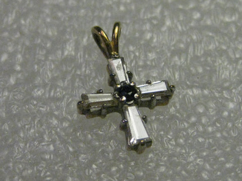 Vintage 14kt G.P. Petite Cross Pendant, CZ baguettes & center black stone