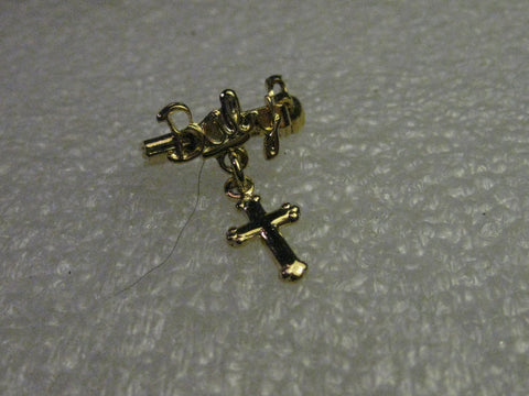 Vintage Baby Christening Brooch with Dangling Cross, Goldtone,