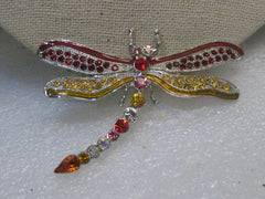 "Rhinestone Dragonfly Brooch, Red/Yellow, 2.5"" Wide, Silver Tone, Post Mid-Century"