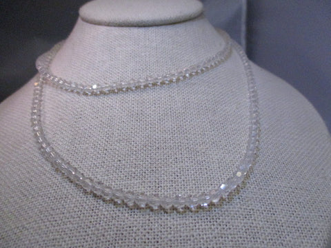 "Vintage 32"" Cut Clear Crystal Necklace with 10kt Gold Unique Clasp, 3.5mm wide"