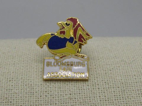 "Enameled Bloomsburg Fair Rooster Brooch/Pin, 1"", Gold Tone"