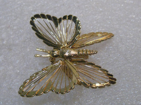 "Vintage Monet Butterfly Brooch, Wired Gold Tone, 1960's, 1.5"" Long"