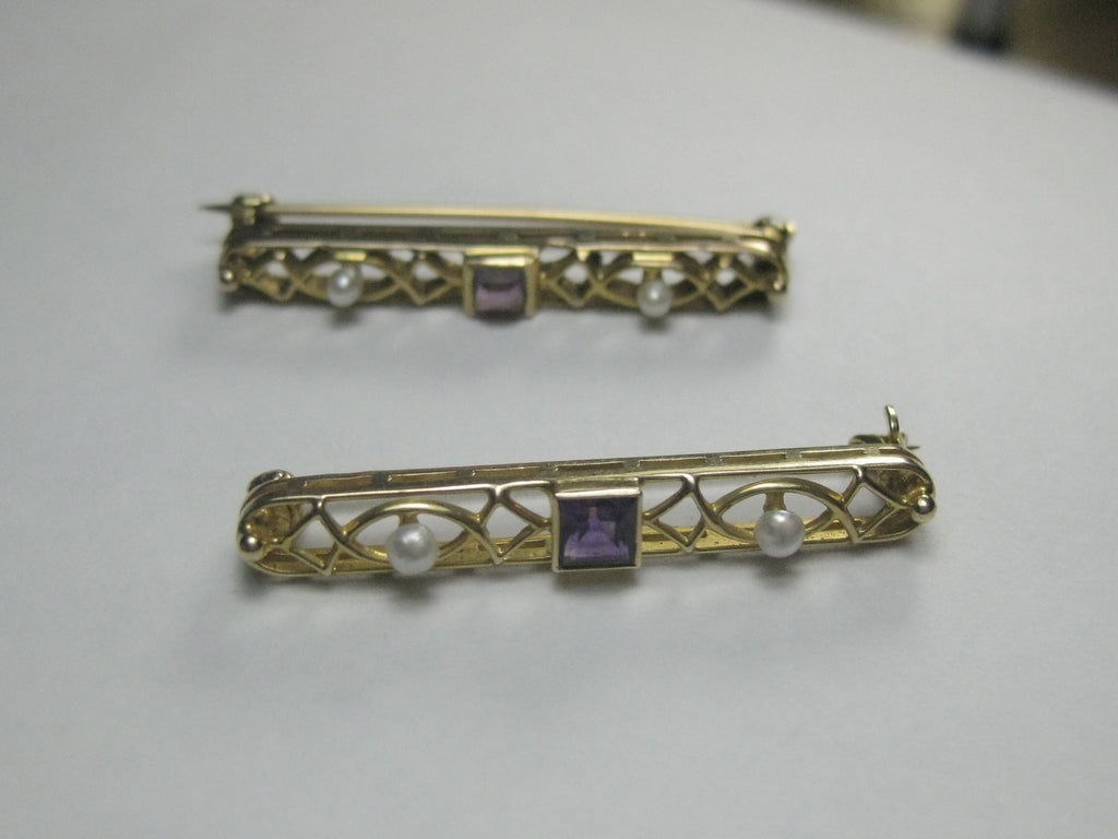 "14kt Edwardian Amethyst Pearl Scatter Brooch Set, Two Pins, 1.25"" Each, 1910's"