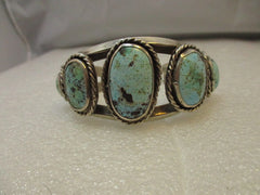 "Vintage Southwestern/Navajo Old Pawn Cuff Bracelet, Turquoise Heavy,  6.5""  87.27 grams,  1.5"" wide, Tapered"