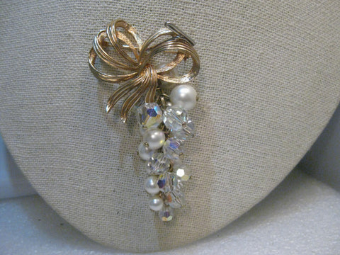 "Bow & Dangling Cluster of Pearls Brooch, Aurora Borealis Crystals, 2.75""  Long"
