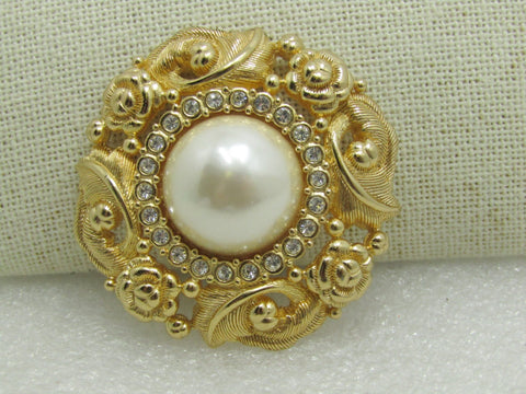 "Burberrys  Faux Pearl & Crystal Brooch, Victorian Themed, Gold Tone, 1.75"","