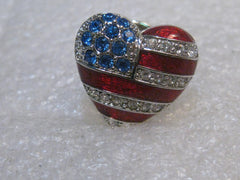 Christopher Radko Enameled USA Flag Heart Brooch/Pin, Rhinestones, 3/4""