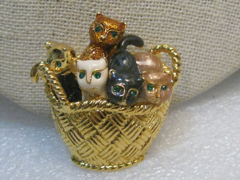 "Vintage Basket of Enameled Kittens Brooch, Gold Tone, 1.5"" - Adorable"