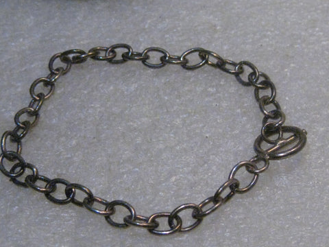 "Sterling Silver 5mm Charm Bracelet, Toggle Clasp, 7.75"", 7.16 grams, 1990's"
