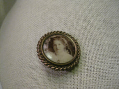 "Vintage Victorian Photo Mourning Brooch, Tiered, 1.25"", Round, Girl"