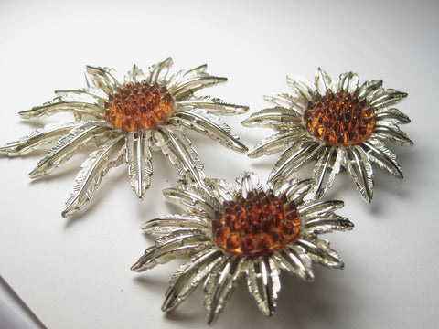 Vintage Sunflower Brooch & Clip Earrings Set, Sarah Coventry, Gold Tone, 1970's