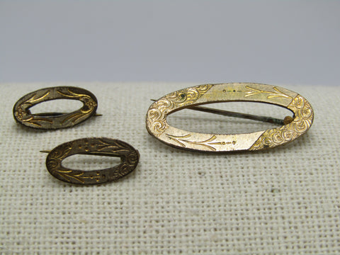 Victorian Etched Scatter Brooch Set of 3 Oval Brooches, Floral Design.  Gold Filled, C-Clasps