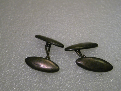 "Vintage early 1900's Sterling Silver Oblong Unisex Cuff Links, 3/4"" long and 1/3"" wide"