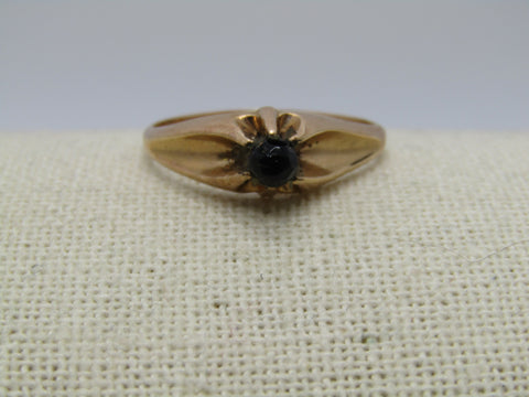 Victorian 10kt Engagement Ring, Black Glass Stone, Size 11, Unisex, 3.59 grams, late 1800's, Signed