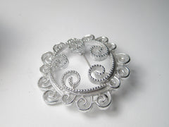 Vintage Silver Tone Spiral Scrolled Circle Brooch, Sarah Coventry, 1970's