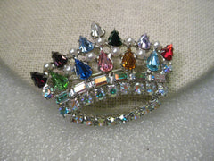 "Vintage Silvertone Crown Brooch, signed B. David, Multi-colored Rhinestones and faux pearls, 2"" wide"