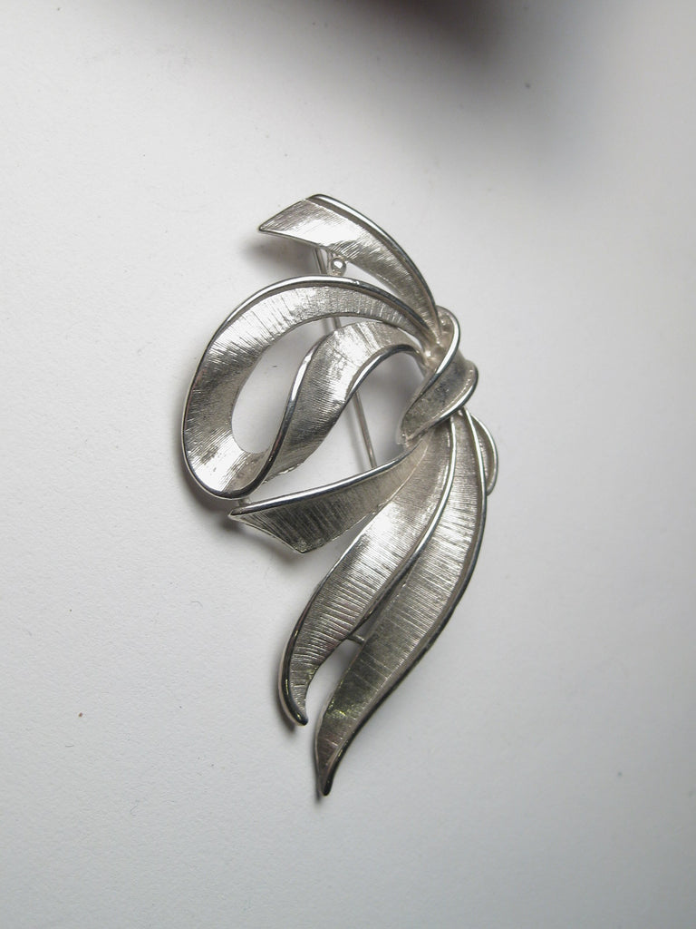 Vintage Silver Tone Brushed Ribbon or Bow Brooch, 1960's-1970's, 2.5""
