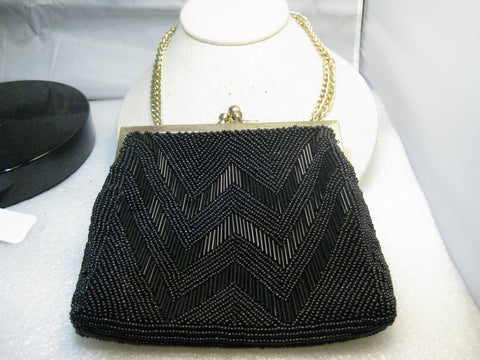 "Black Beaded Purse, hinged, clam shell opening, Walb0rg, Hong  Kong, 4"" x 6"", 1950's"