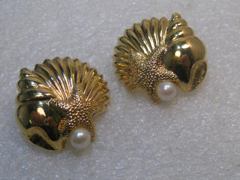 "Avon Seashell Faux Pearl Pierced Earrings, 1980's-1990's, 1-1/8"", Gold Tone"