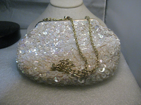 "1950's White Sequin Beaded Purse, hinged, clam shell opening, Hong Kong, 6"", Iridescent Sequins"