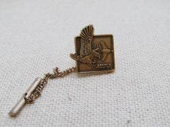 Vintage Eagle Airplane Aquila Tie Tack with Chain, U.S. Military?