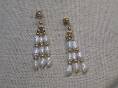 "14Kt Freshwater Pearl Pierced Earrings, Three Strands, 1.25"", 2.38 gr., signed GSJ"