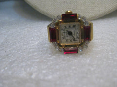Vintage Bonetto Rhinestone Finger Watch, Digits, Faux Ruby Baguettes/Clear Stones, Japan Movement, 1980's