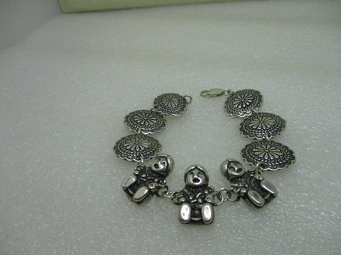 "Sterling Silver Southwestern/Mexican/Pueblo Storyteller & Concho Linked Bracelet, 6.75"", 27.03 grams"