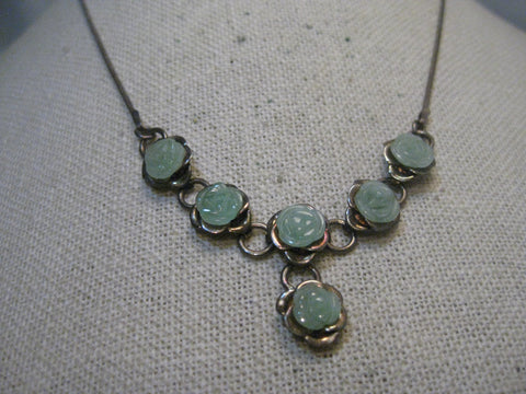 "Sterling Silver Jade Rose Necklace, 17"", 12.73 Gr. Serpentine Chain, Vintage, 1970's"