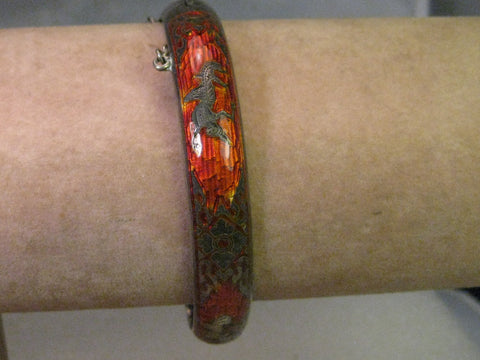 Vintage Siam Hinged Bangle Bracelet, Red Enamel, Sterling Silver, 7.25""