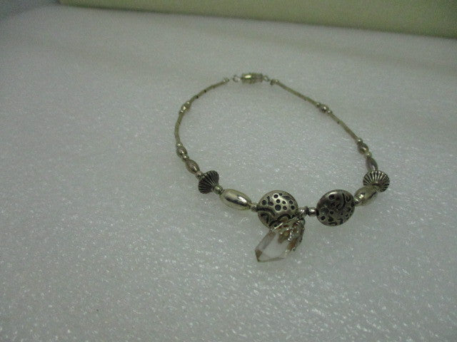 "Silver Tone Southwestern 9"" Anklet with Clear Crystal Dangle"