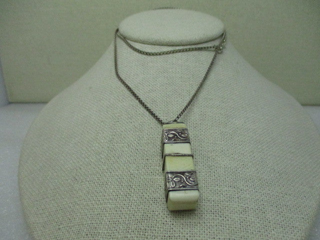 "Antique Ethnic Sterling Silver Wrapped Ivory Rod Pendant on 24"" Box Chain"