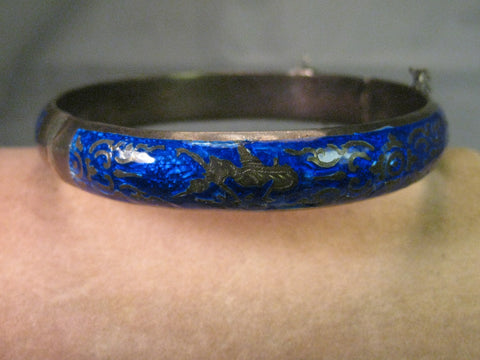 Vintage Siam Hinged Bangle Bracelet, Blue Enamel, Sterling Silver, 7.25""