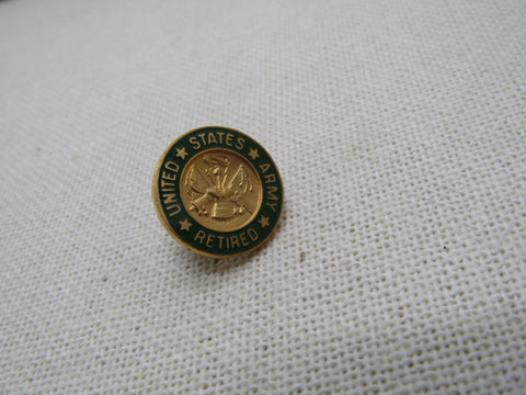 "Vintage U.S. Army Retired Tack Pin, Enameled Green, 5/8"" Round, Brass"