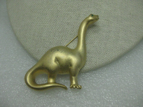 Vintage Gold Tone Dinosaur Brooch, signed PO, Brachiosaurus like Dino from the Flintstones or