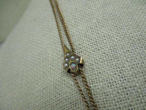 "Vintage Ladies Victorian Seed Pearl & Opal Watch Chain with Slide, 46"", Gold Filled"