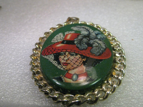 Vintage Pendant, Dual-Sided, Mirror & Green Decal Cameo-like Woman in Red Hat, 3""