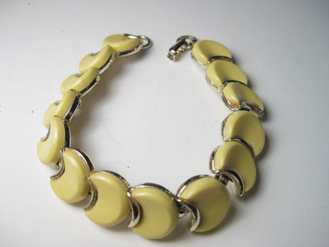"Vintage Gold Tone Yellow Thermoset Bracelet, Crescent Moon 7"", Mid-Century"