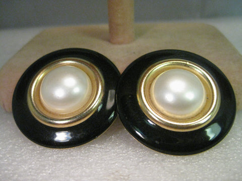 Vintage Shoe Clips, Black Enamel & Faux Pearl, Round, Tiered