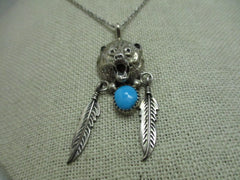 "Sterling Silver  Navajo Bear Head Necklace, with Feather,s And Turquoise,  18"" chain, signed BL, Southwestern"