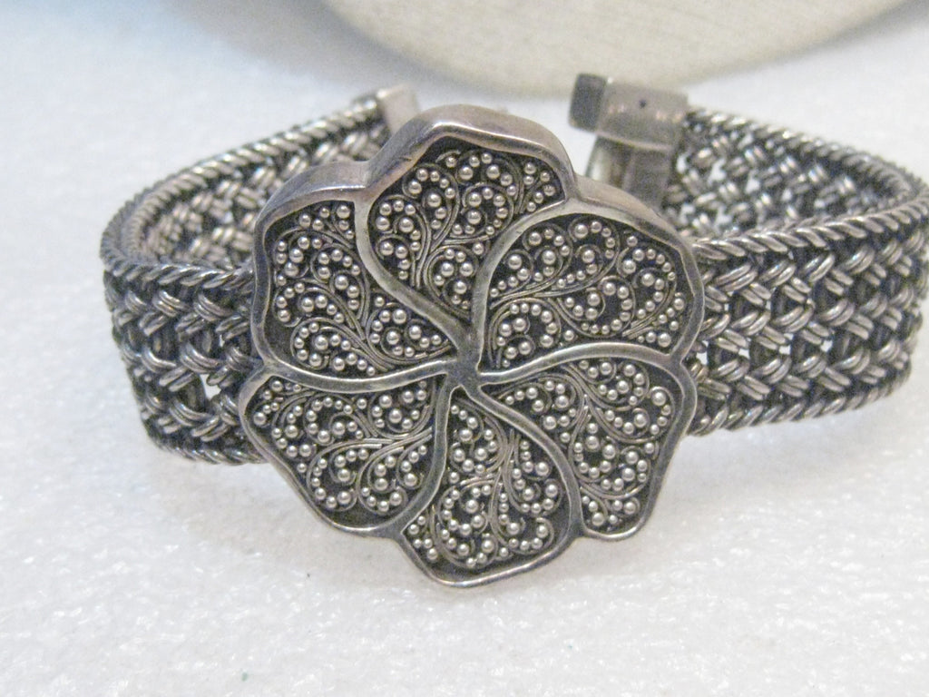 "Sterling Lois Hill Thai Weave Bracelet, Floral, 6.75"" 66.28 Grams"
